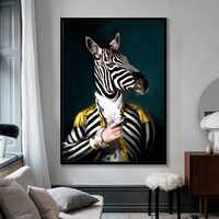Schwarz und Weiß Classy Lion Tiger Elefant Giraffe Wolf Pferd Wand Kunst Poster Und Drucke Tier Trägt einen Hut Leinwand malerei