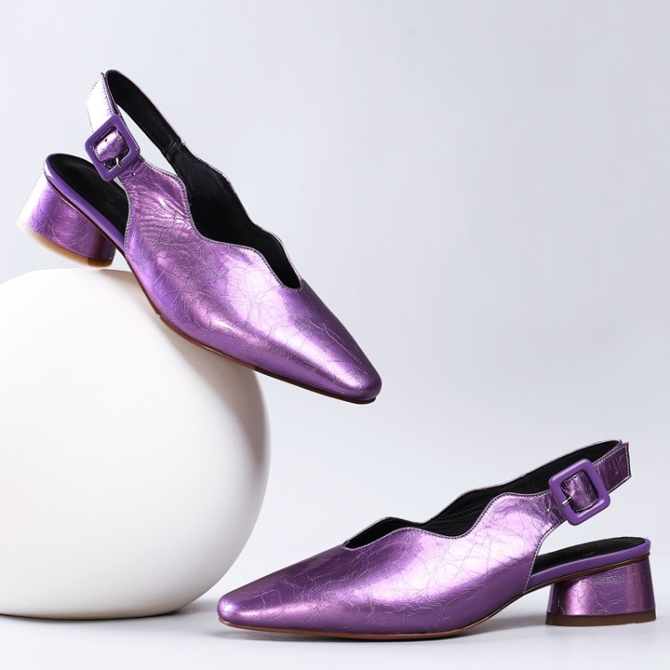 MLJUESE 2018 women sandals patent leather purple color buckle strap pointed toe beaches sandals party dress