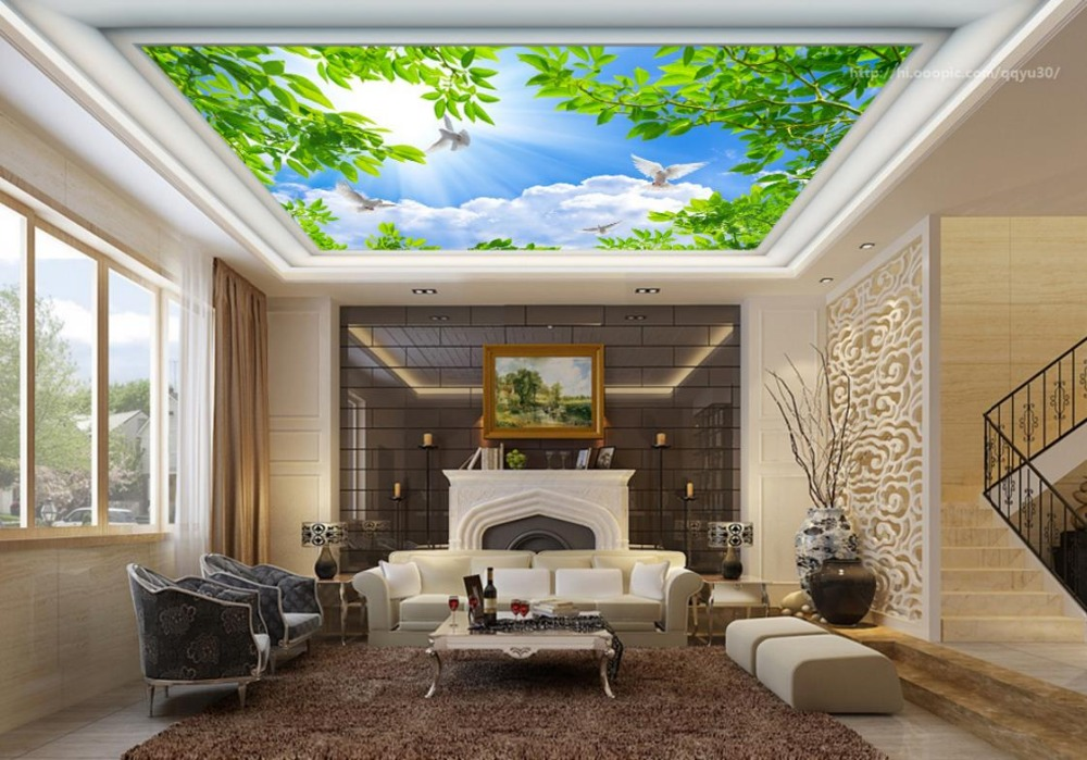 3D Ceiling Murals Wallpaper Blue sky white clouds green leaves Nonwoven Ceiling Murals Wallpaper	 Living room bedroom high definition sky blue sky ceiling murals landscape wallpaper living room bedroom 3d wallpaper for ceiling