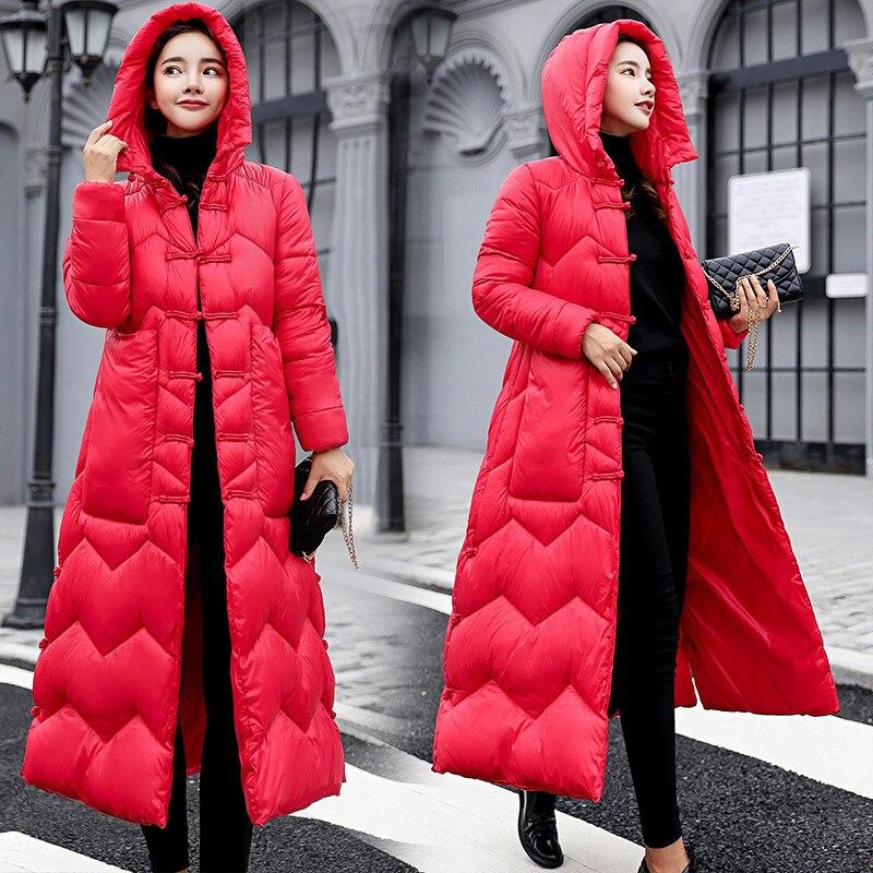 breasted Femme Parkas Femmes Red Veste Single Nouveau Dames red Chaud Mince Capuche Cw462 2018 Black Coton Moyen Thicking Survêtement rose Hiver Long pwda07q7
