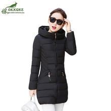 Winter women Down cotton Outerwear medium long Slim large size light feathers thin jacket coat female elegant clothing OKXGNZ