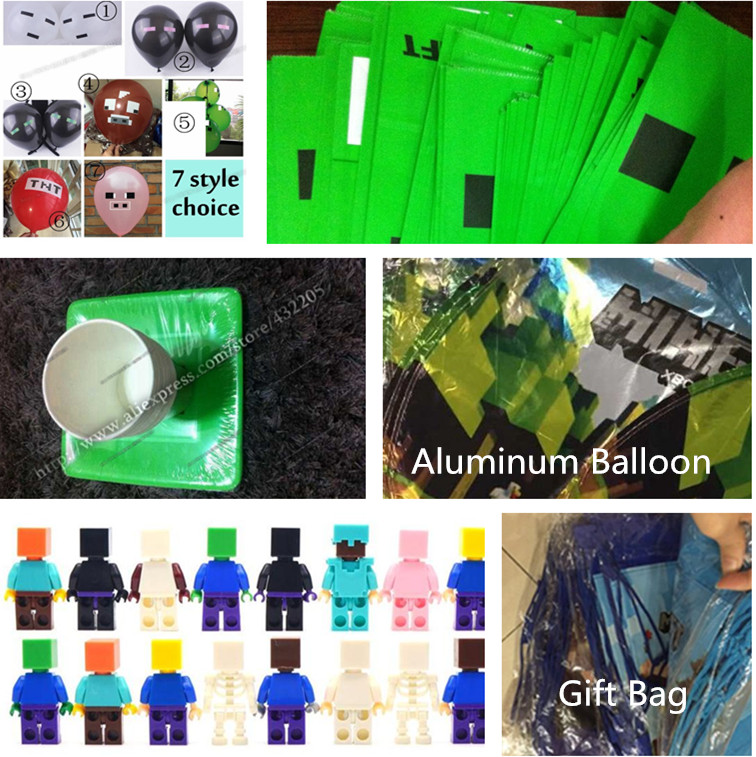 minecraft party supplies paper cups plates bag banner aluminum