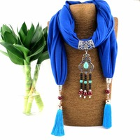 Bohemian Multicolors Ceramic Beads Pendant Necklace Scarf Jewelry Vintage Scarfs Ladies NK1111
