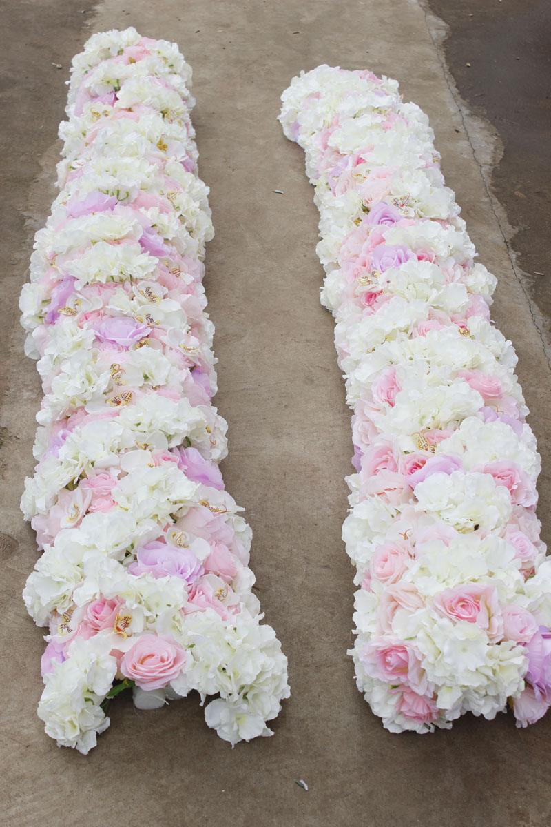 SPR 2018 2 m/pcs mariage petite arche fleur chemin de table fleur mur scène toile de fond décoratif fleur artificielle en gros