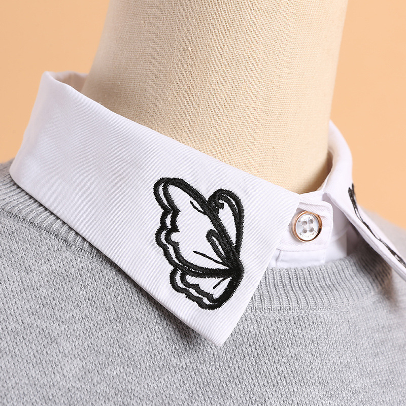 YSMILE Y Shirt Sweater Removable Fake Collar Fashion White Embroidery Butterfly Blouse Decoration Collar High Quality For Lady