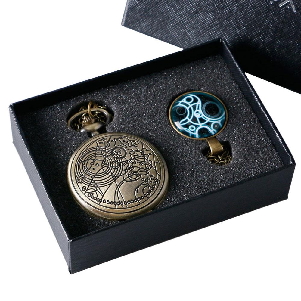 Men Women Bronze Steampunk Doctor Who Quartz Pocket Watch Chain Set With Box Christmas Gift