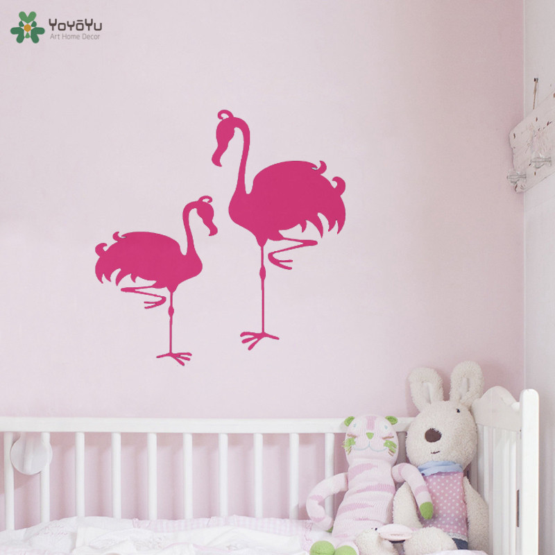 YOYOYU Wall Decal Flamingo Vinyl Wall Sticker Beautiful Animal Wall Mural For Kids Girls Bedroom 40 Colors Available QQ266 in Wall Stickers from Home Garden