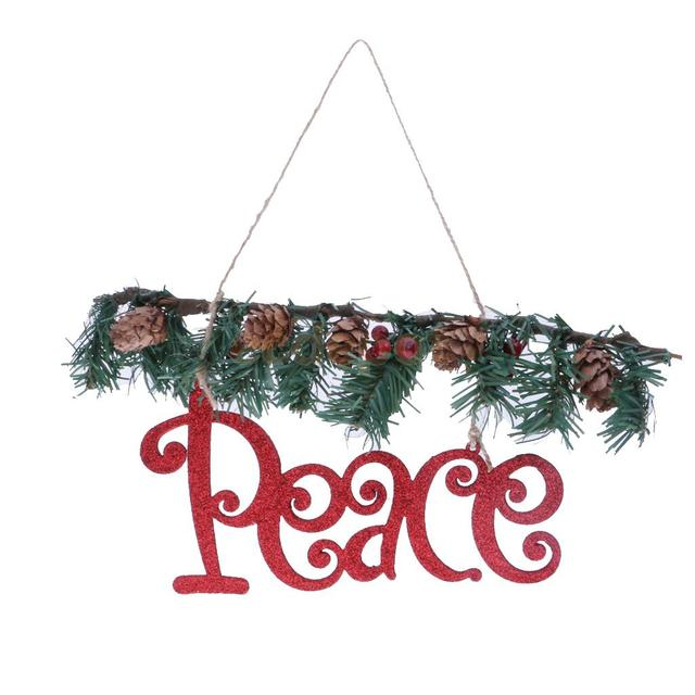 Vintage Glitter Red Peace Sign Rattan Christmas Tree Home Party Door