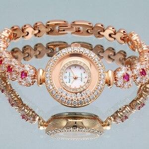 Image 3 - Lüks takı bayan kadın izle güzel moda saat kristal bilezik taklidi altın kaplama kız hediye kraliyet taç kutusu