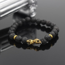 Wholesale Fashion Double Antique Gold Color Skull Charm Bracelets With Lava Stone Bead For women and men Jewelry