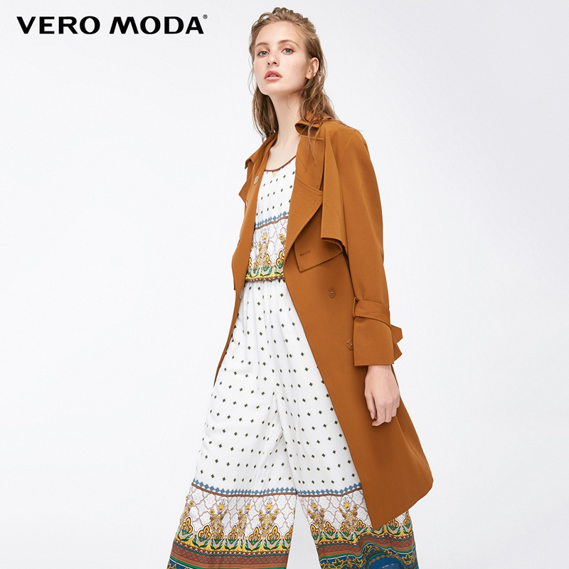 Vero Moda Straight Fit Lace up Real Two piece Medium Length Trench Coat 318321507
