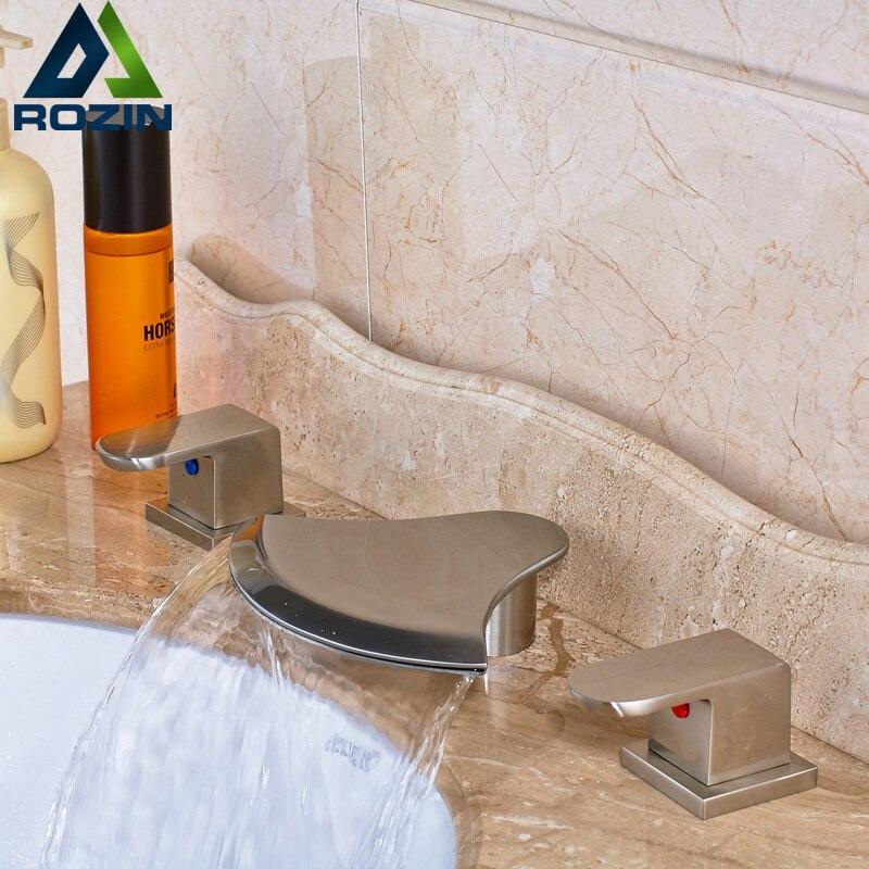 Luxury Nickel Brushed Waterfall Bathroom Basin Faucet Deck Mounted Widespread Dual Handle Three Holes brushed nickel deck mount waterfall basin mixer dual handle 3 holes bathroom faucet