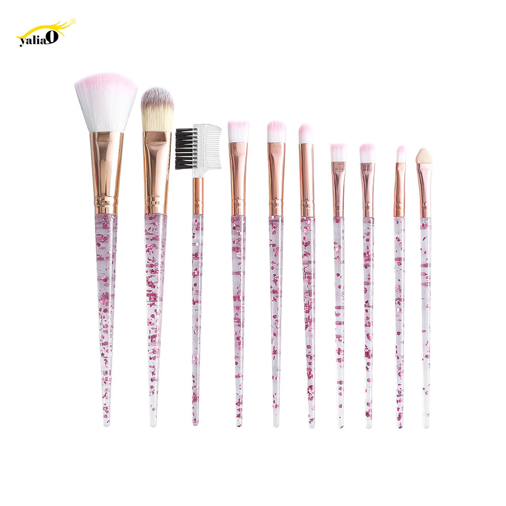 YALIAO 10pcs Professional Cosmetic Brush Makeup Brush Set Foundation Eye Shadow Blush Blending Lip Brush Make Up Tools Kit in Eye Shadow Applicator from Beauty Health