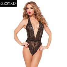 Elegant Lace Ladies Clubwear Deep-V Neck Playsuit Elastic Slim Sleeveless Backless Jumpsuit Sexy Bodysuit Rompers Womens(China)