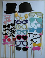 Free Shipping Set Of 36pcs A Stick Wedding Photo Booth Props Mustache Glasses Hats DIY Wedding