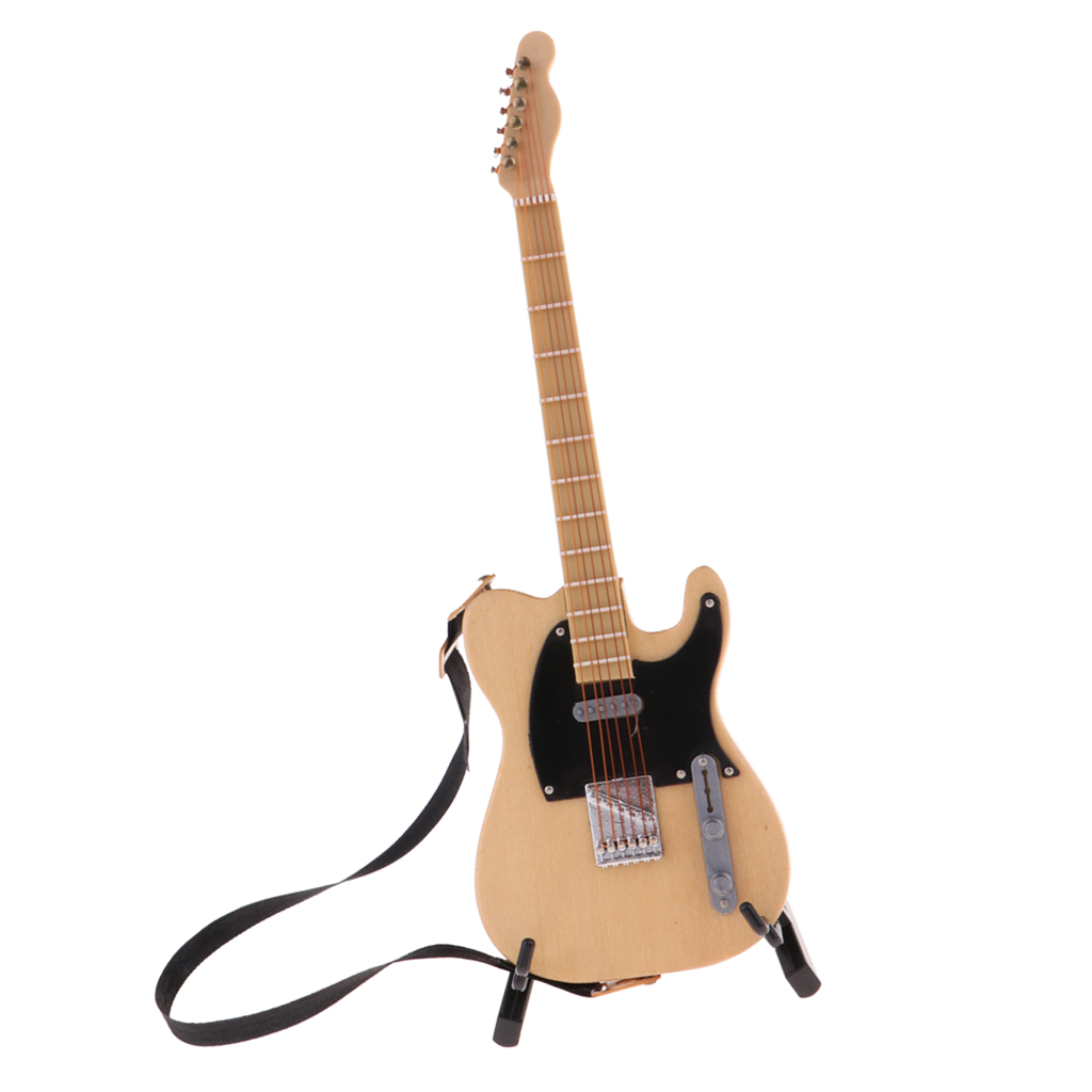 Wooden Miniature Guitar Musical Instrument For 1:6 Dollhouse Decoration Accessory (Beige) Electric Guitar