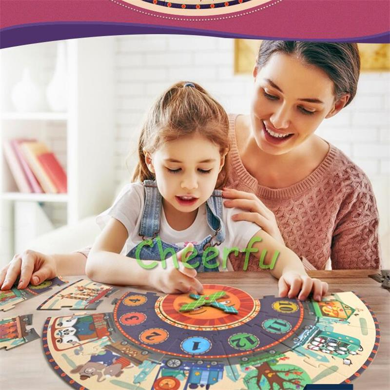 Mideer 25pcs Big Puzzle Games Paper Puzzle Digital Clock cognition My Time Travel for Kids Children Montessori Toy Set Gifts