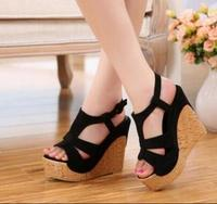 2017 Newest Design Ladies Wedges Platform Sandals Candy Color Hollow Out Open Toe Shoes