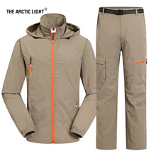 THE ARCTIC LIGHT Men Quick Dry Shirt And Pants Spring Summer Hiking Sport Outdoor Trouser Male Fishing Trekking A suit nextour summer male quick dry contrast color t shirt outdoor tees long sleeve sport breathable soft fabric hiking trekking