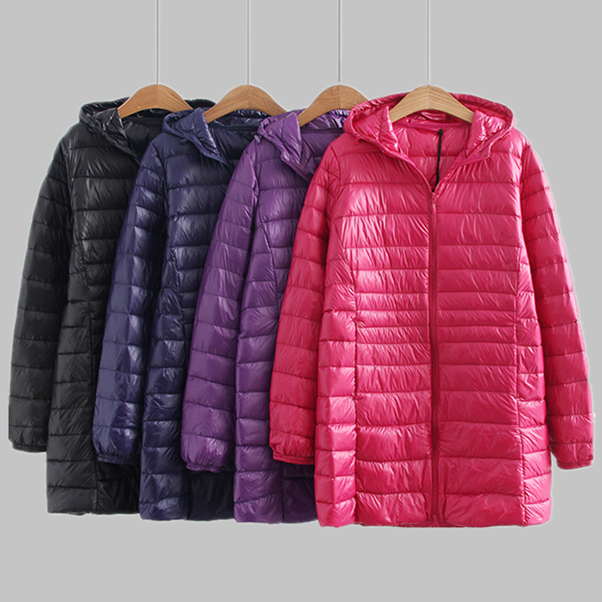 New Autumn Winter Plus Size 3XL-6XL   Down     Coat   Women Ultra Light White Duck   Down   Jackets Hoode Windproof Female Outwears Mw110