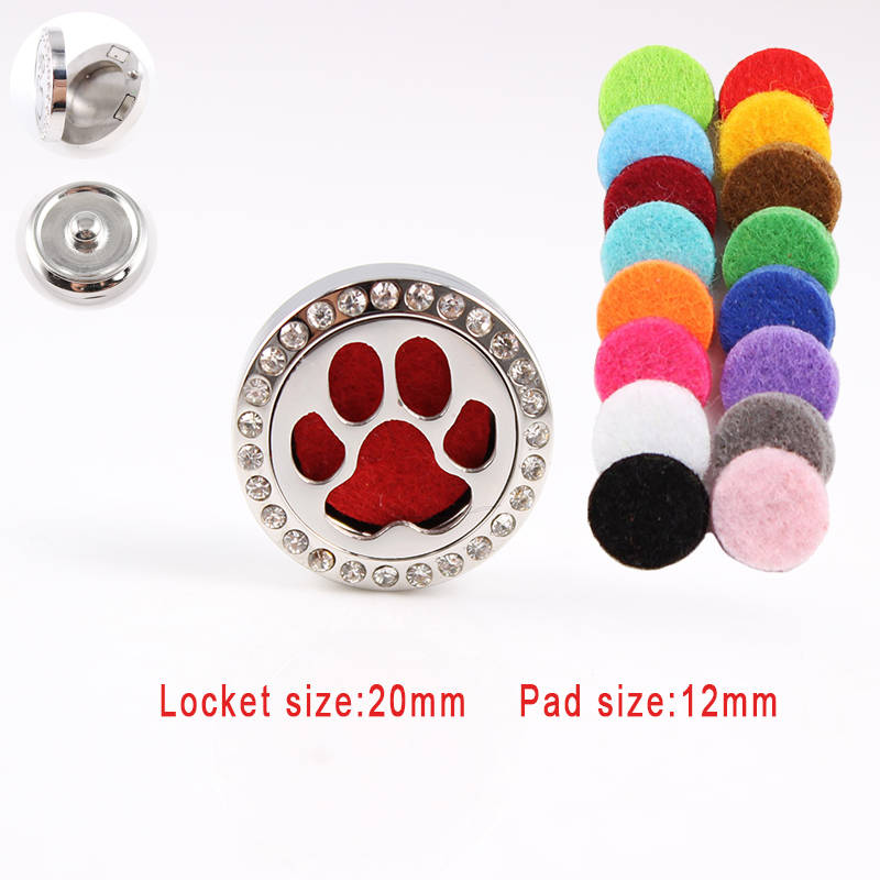 Hot Wholesale Paws Snap Buttons 20mm stainless steel Essential oil diffuser locket snap For Woman 18mm Snap Button Jewelry