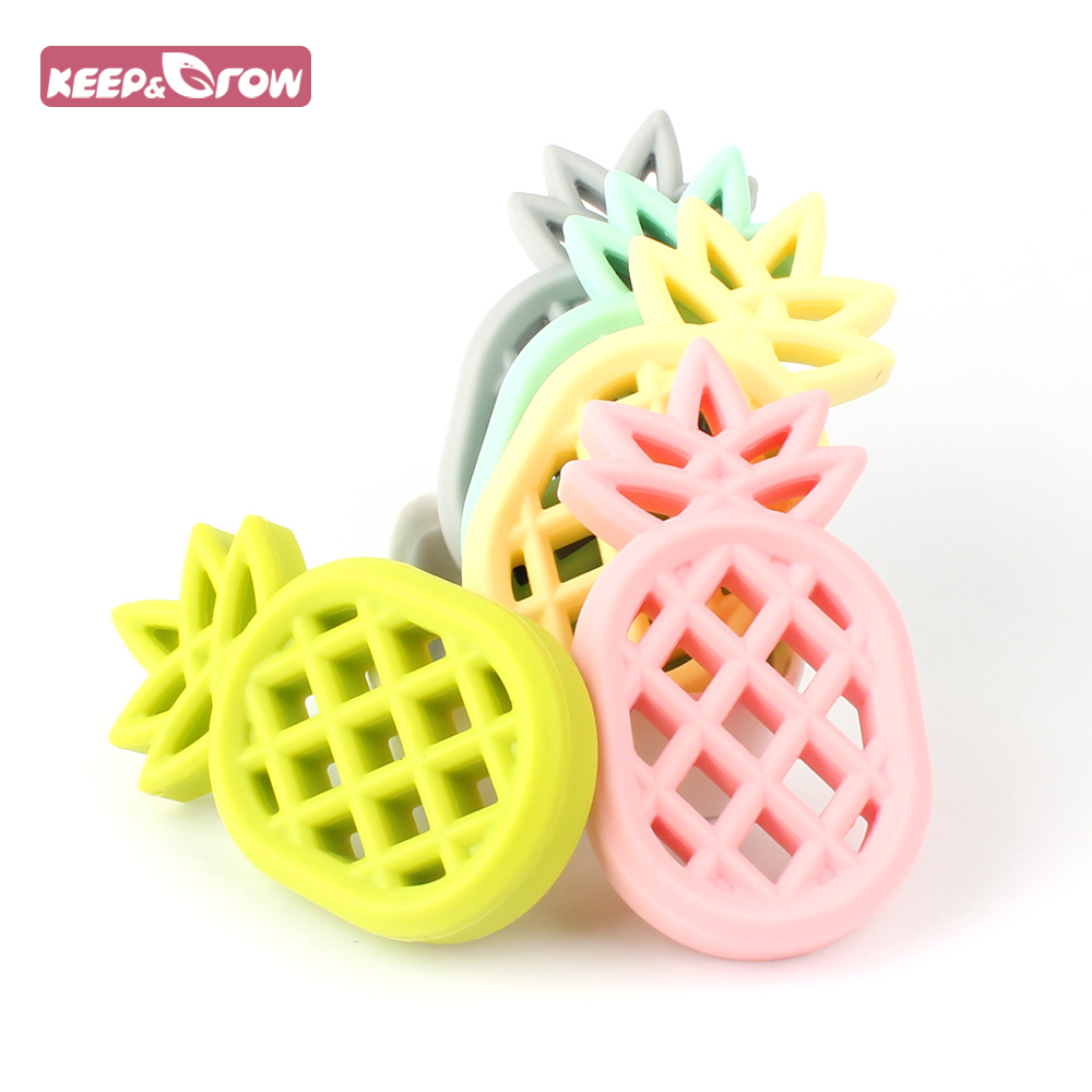 1pcs Colourful Silicone Pineapple Teether BPA Free Food Grade Silicone Material Health Baby Chewed Teether For Baby Favourit
