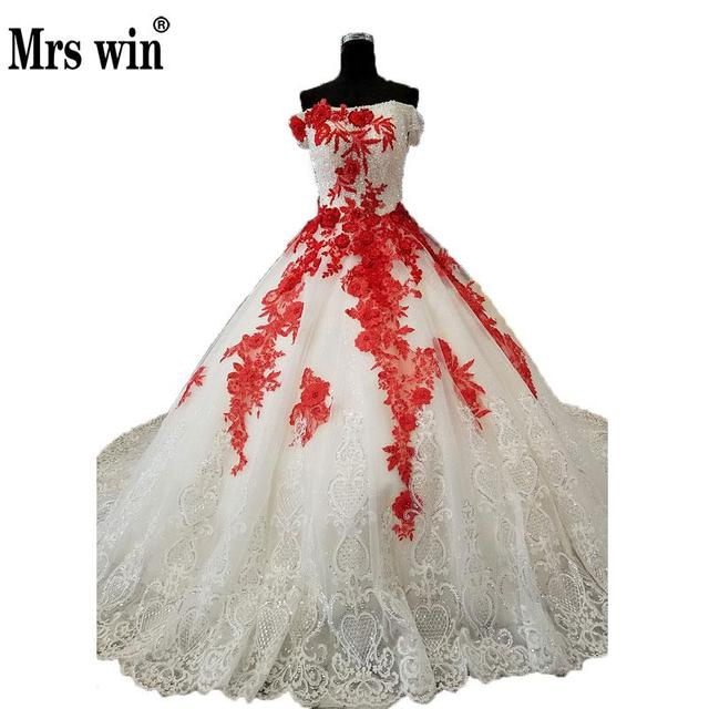 Mrs Win Angel Nobel Ball Gown Wedding Dress Red Beaded Pattern Boat Nack Strapless Royal Trian
