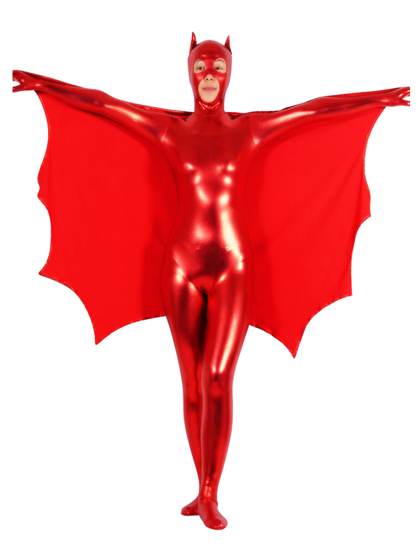 Red Shiny Metallic Zentai Batgirl Super Hero Halloween Costume with Cape