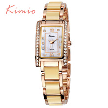 KIMIO Dazzling Bracelet Rectangle Quartz Women Clock Elegant Shell Dial Ladies Wrist Watches Waterproof relogios feminino