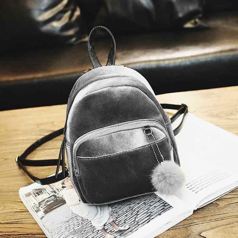 e8178768dc2b Бархатный женский рюкзак Mochila Escolar мини-рюкзак для дам 2018  подростковые девочки ...