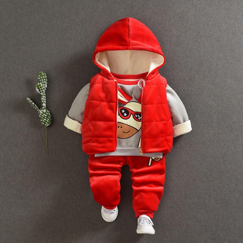 Baby Set For Boy Girl Clothes Suit For Toddler Spring Autumn Warm Hooded 3PCS Vest + Long Sleeves + pants 1-3 Year vogue pu leather spliced color block hooded long sleeves hoodie for men