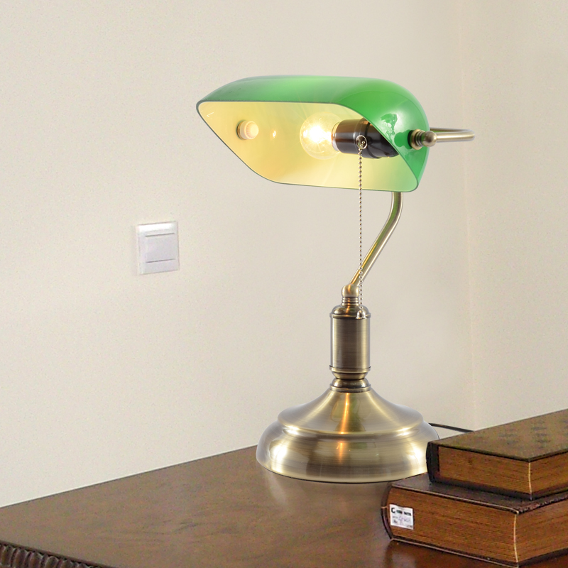 Vintage Table Lamp Green Bedroom Study Light Bed Lighting Decoration T1046