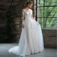 A Linha de Tulle Vestido De Noiva Vestidos de Casamento Colher Mangas Compridas Apliques de Renda Tribunal Trem Botão Illusion Vestidos de Noiva