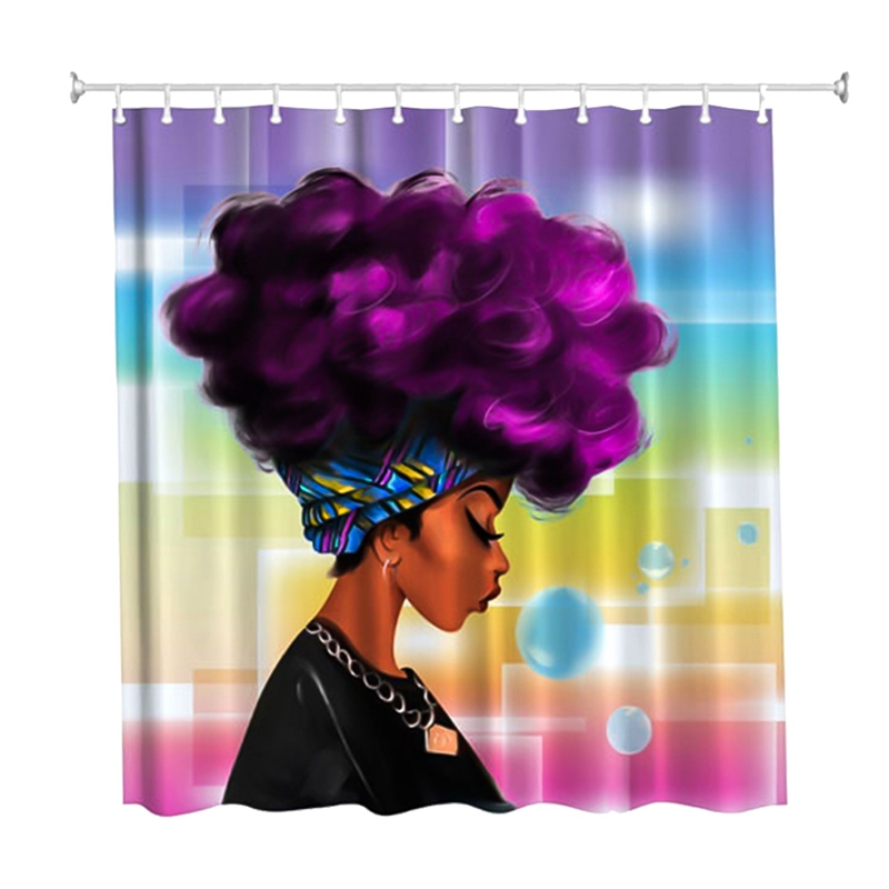 Women Black Shower Curtain African Women With Purple Hair Hairstyle Waterproof Resistant Fabric Polyester Shower Curtain