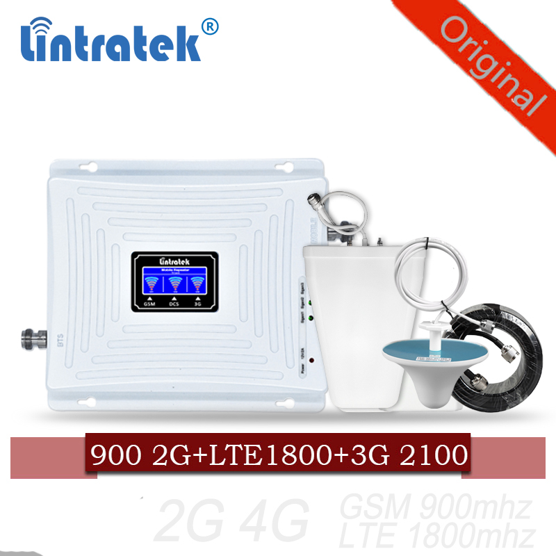 2G 3G 4G Cellular Amplifier Mobile Signal Repeater GSM 900 WCDMA 2100 DCS LTE 1800 Mhz Signal Booster Repeater Triple Band 70dB