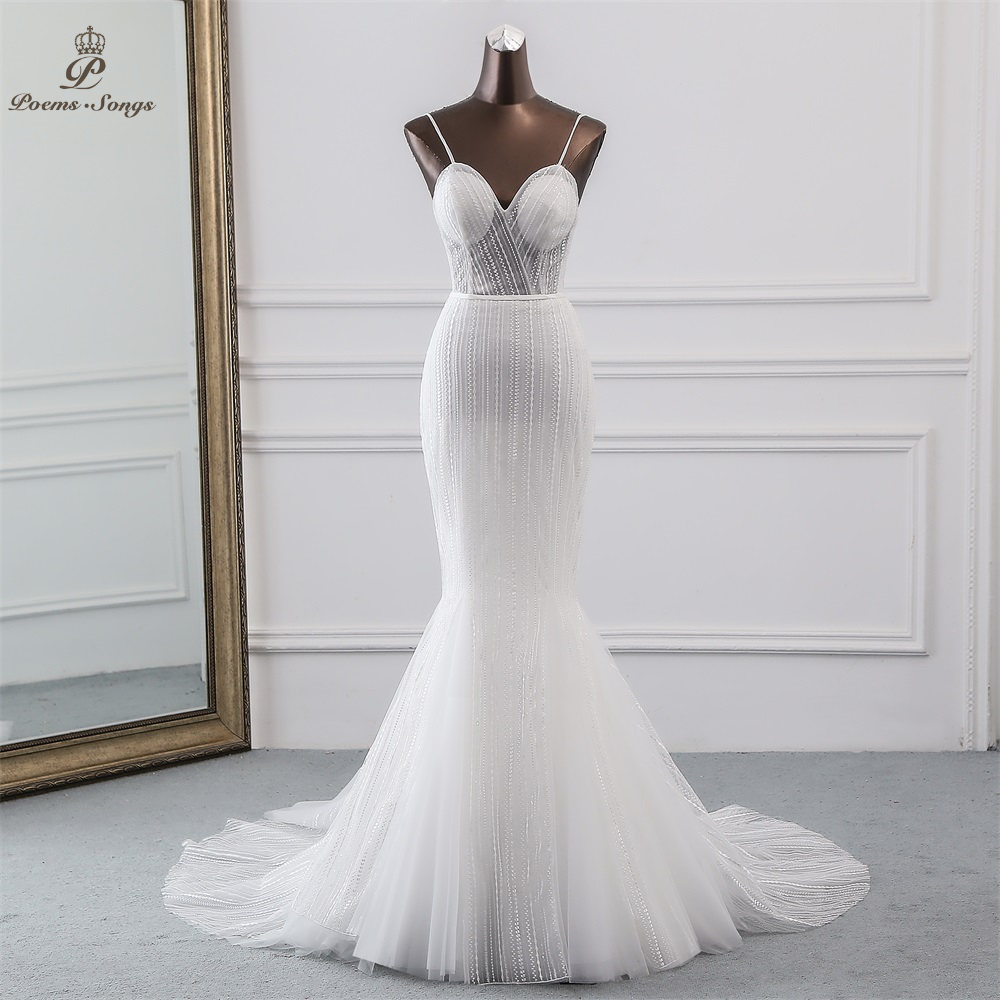 Poems Songs 2019 New Ivory Sequined Lace Mermaid Wedding Dress Halter Style Vestidos De Novia Beach Wedding Gowns Robe Mariage