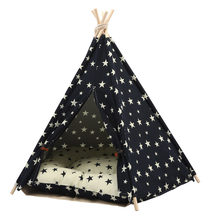 JORMEL 2019 Fashion New Pet Tent Dog Teepee Cat Toy House Portable Washable Pet Bed Star Pattern Not Contain Mat(China)