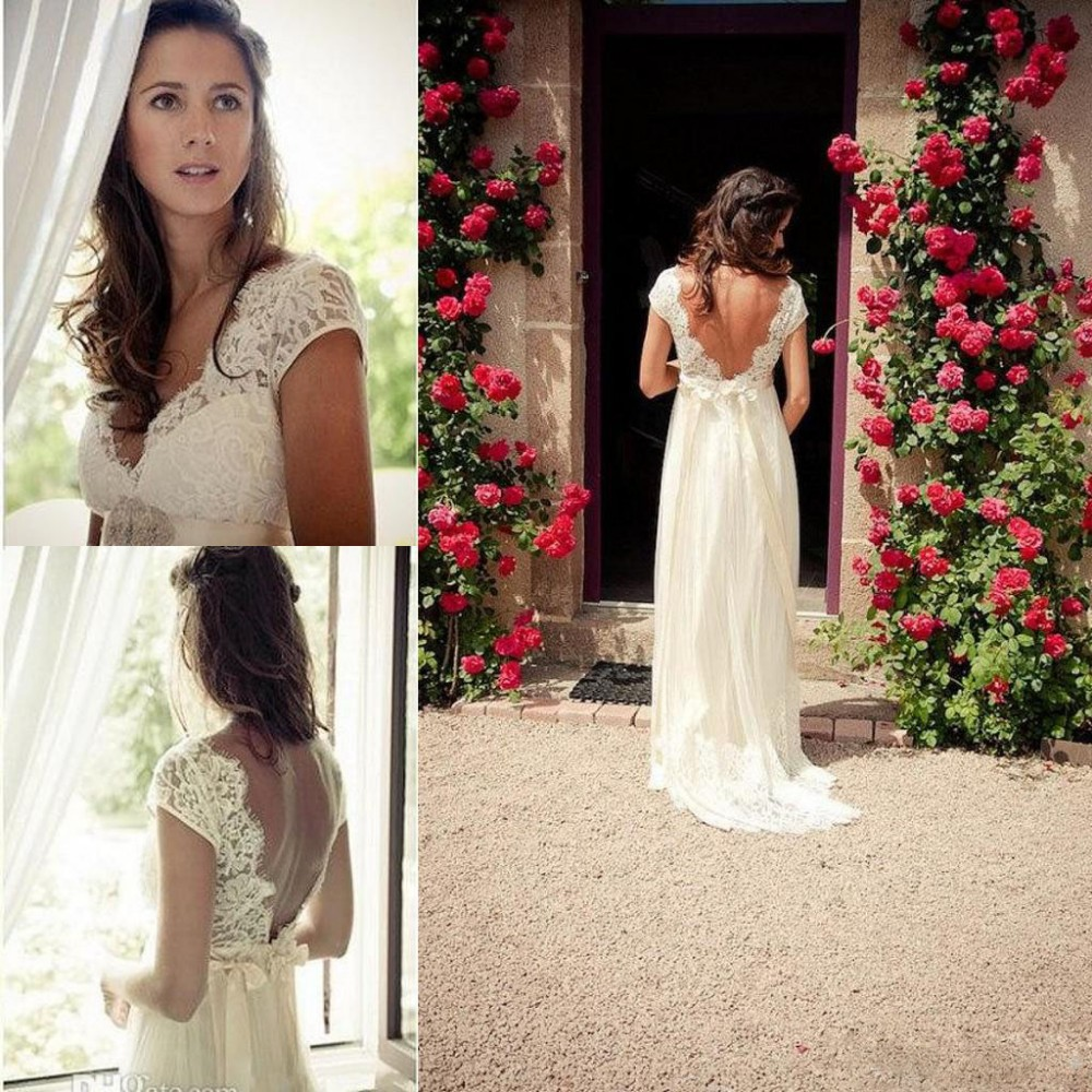 Gorgeous Elegant V-Neck Cap Sleeves Backless White/Ivory Boho Chic Lace Beach Wedding Dresses 2015