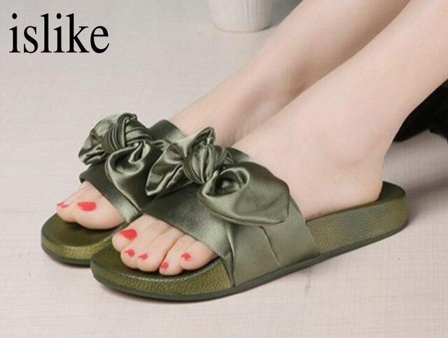 8e7629c57 islike Ladies Silk Bow Slides Women Summer Beach Shoes Woman No Fur  Slippers Flat Flip Flops Sandals