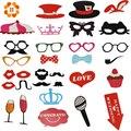 31 pcs Bigode Em Uma Vara de Casamento Photo Booth Props Photobooth Partido Engraçado Máscaras Da Dama de honra Presentes Para A Decoração Do Casamento