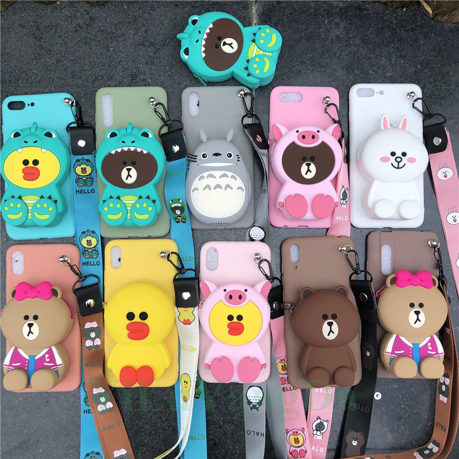 Cartoon Zipper Wallet Phone <font><b>Case</b></font> for <font><b>Vivo</b></font> Y15 Y17 Y55 Y66 Y67 <font><b>Y69</b></font> Y71 Y81 Y83 Y91 Y95 Z1 Z1i Z3 Z3i Soft TPU Silicone Bag Cover image