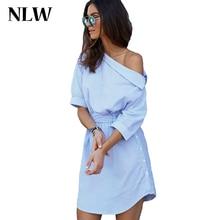Blue Elegant Striped Slash Neck Women Dress