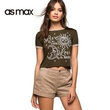 asmax 2017 Letter Print Women Casual T-shirts O Neck Short Sleeve Brief Crop Tops Summer Streetwear Loose Slim T-shirts