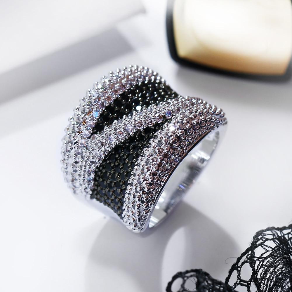 2019 Unazë e gjerë e kubike e zezë dhe e bardhë kub e - Bizhuteri të modës - Foto 4