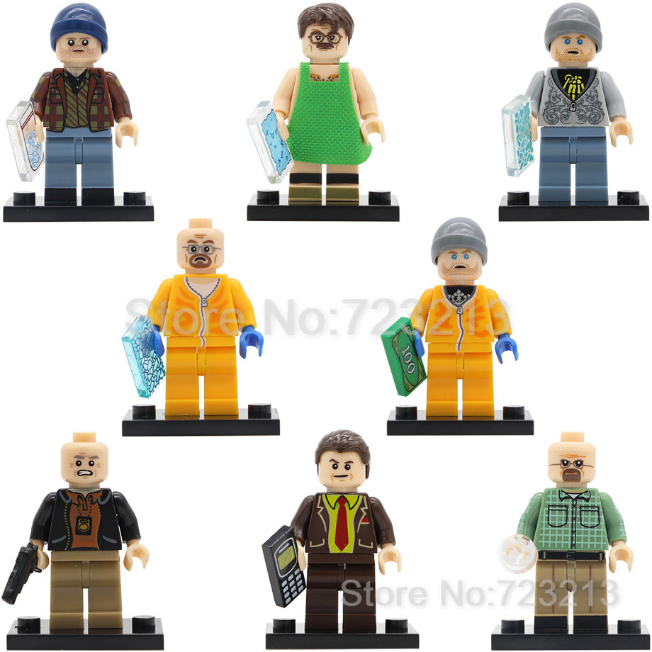 Single Sale Breaking Bad KL9009 Walter White Jesse Figure Pinkman Hank Schrader Lawyer Saul Building Blocks Model Bricks Toys 1 6 scale figure doll head shape for 12 action figure doll accessories breaking bad jesse pinkman figure male head carved