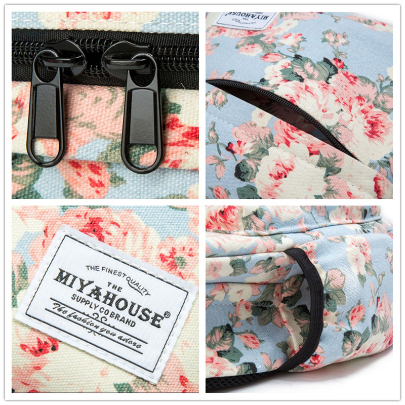Image 4 - Miyahouse Fresh Style Women Backpacks Floral Print Bookbags Canvas Backpack School Bag For Girls Rucksack Female Travel Backpack-in Backpacks from Luggage & Bags