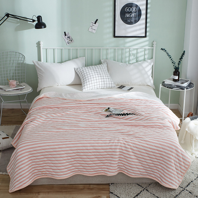 Simple Fashion Style Pink White Stripe Pattern Summer Bed Coverlet