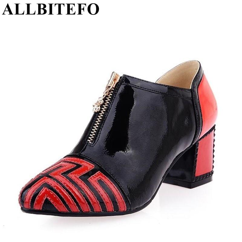 ALLBITEFO Fashion mixed colors decoration genuine leather women pumps casual women high heel shoes fashion platform pumps woman