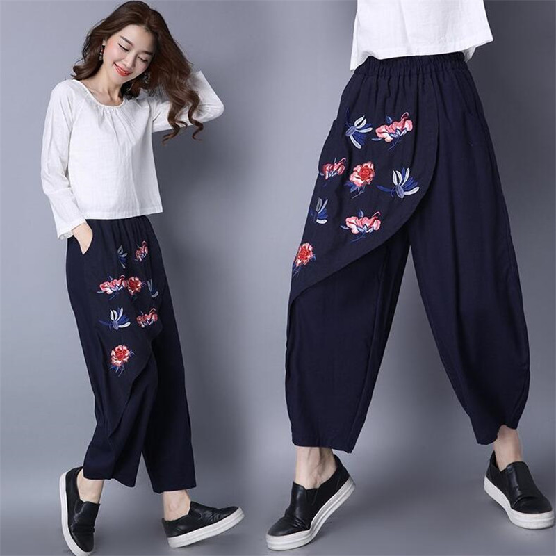 National Style   Wide     Leg     Pants   Female Fashion 2019 New Casual Embroidery Patchwork Vintage Loose Spring Trousers Navy blue