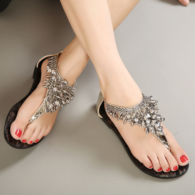 2e2f59d801 Mujer sandalias 2015 verano rome vintage flip flop mujeres forman las sandalias  planas sexy cadena mentales